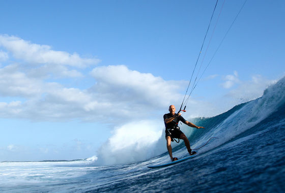 Udo Hölker, editor of the Kite and Windsurfing Guides, Big Wave Kitesurfing, One Eye, Mauritius